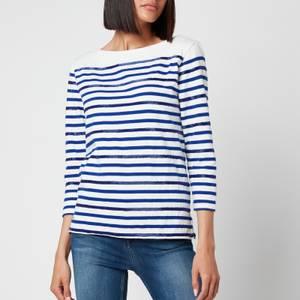 Polo Ralph Lauren Women's Stripe Logo T-Shirt - Deckwash White/Heritage Royal