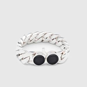 Tom Wood Men's Slim Bracelet Onyx - Sterling Silver