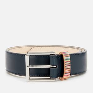 PS Paul Smith Men's Signature Stripe Keeper Leather Belt - Navy