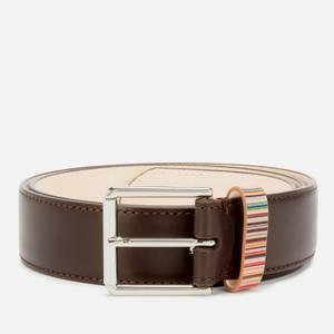 PS Paul Smith Men's Stripe Keeper Belt - Chocolate Brown