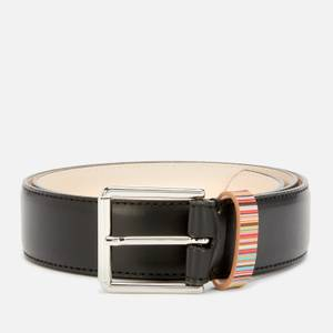 PS Paul Smith Men's Stripe Keeper Belt - Black