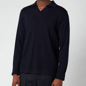 Officine Generale Men's Simone Long Sleeve Polo Shirt - Navy