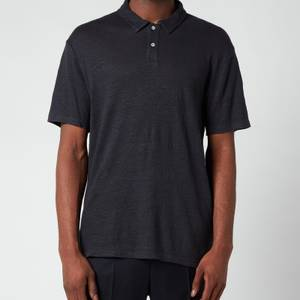 Officine Generale Men's Bruno Dyed Linen Polo Shirt - Navy