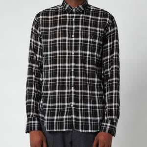 Officine Generale Men's Lipp Tencil Check Shirt - Black/Grey/White