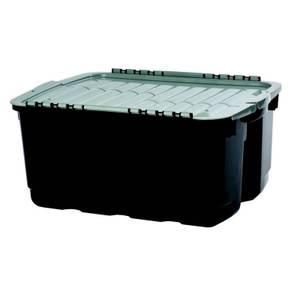 Curver Tuff Heavy Duty Plastic Storage Box - Grey & Black - 49L
