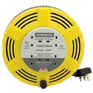 Masterplug 4 Socket Cassette Reel 15m Yellow