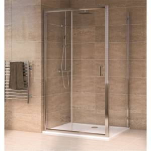 Aqualux Sliding Door 1400 x 800mm Shower Enclosure and Tray Package