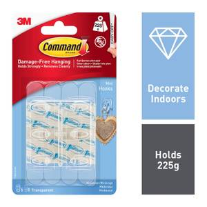 Command Mini Clear Hooks with Clear Strip
