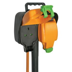 Masterplug 2 Socket Outdoor Spike with IP Rated Sockets 5m Black/Orange