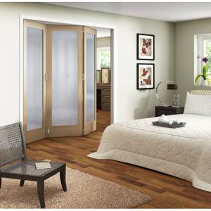 Obscure Glazed Oak Veneer 3 Door Internal Room Divider - 1929mm Wide