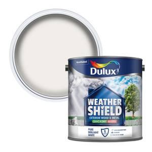 Dulux Weathershield Exterior Quick Dry Gloss Paint - Pure Brilliant White - 2.5L