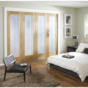 Room Divider Obscure Glazed Oak Veneer - 4 Door - 2545mm Wide