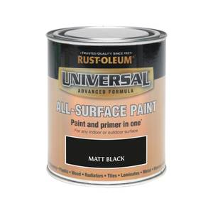 Rust-Oleum Universal All Surface Matt Paint & Primer - Black - 750ml