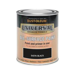 Rust-Oleum Universal All Surface Satin Paint & Primer - Black - 750ml