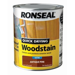 Ronseal Quick Drying Woodstain Satin Antique Pine - 750ml