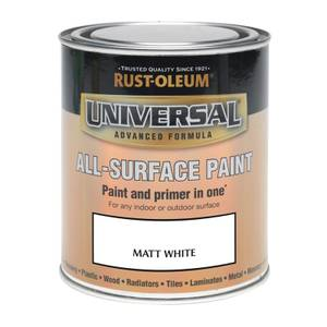 Rust-Oleum Universal All Surface Matt Paint & Primer - White - 250ml