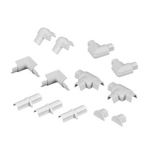D-Line Micro Decorative Trunking Smooth Fit 13 Piece Accessory Multipack 16mm x 8mm White