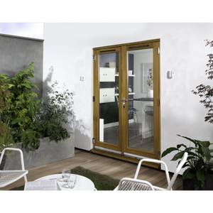 Canberra Laminated Oak Pre-Finished French Doorset - 1200mm Wide