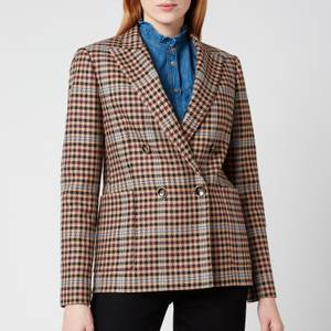 Ted Baker Women's Ramune Check Double Breasted Jacket - Camel