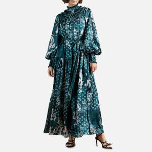 Ted Baker Women's Anafia Trapeze Maxi Dress with Smocked Neck Detail - Teal Blue