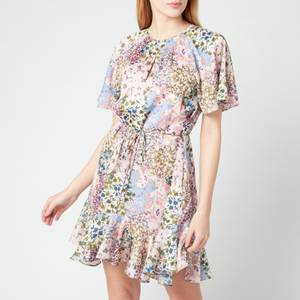 Ted Baker Women's Lalu Urban Printed Fluted Hem Mini Dress - Light Pink