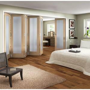 Obscure Glazed Oak Veneer 6 Door Internal Room Divider - 3771mm Wide