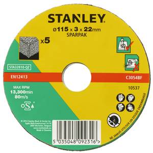 Stanley 115mm Stone Cutting Disc Pack - STA32810-QZ
