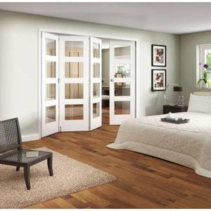 Clear Glazed White Folding Internal Doorset - 2545mm Wide
