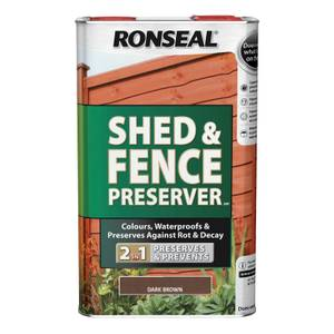 Ronseal Shed & Fence Preserver - Dark Brown - 5L