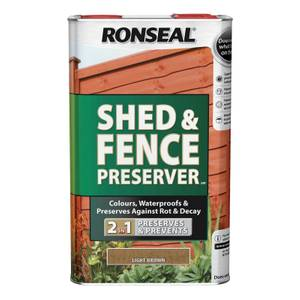 Ronseal Shed & Fence Preserver - Light Brown - 5L