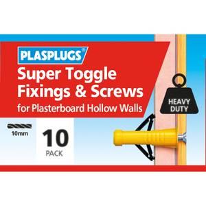 Plasplugs Super Toggle & Screws x 10