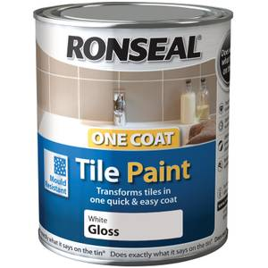 Ronseal Pure Brilliant White - One Coat Hi Gloss Tile Paint - 750ml