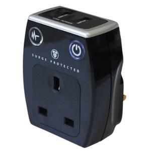 Masterplug Surge USB Charger with Plug Through Black