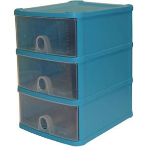 Handy Drawers - Set of 3 - Blueberry & Clear