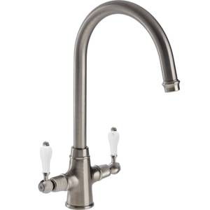 Lavish Dual Handle Monobloc Kitchen Tap - Brushed