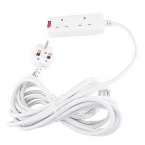 Masterplug 2 Socket Extension Lead 5m White
