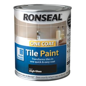 Ronseal One Coat Tile Paint Black High Gloss - 750ml
