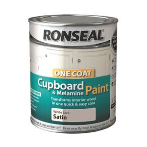 Ronseal One Coat Cupboard Paint White Lace Satin - 750ml