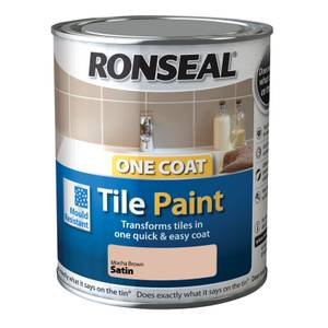 Ronseal One Coat Tile Paint Mocha Brown Satin - 750ml