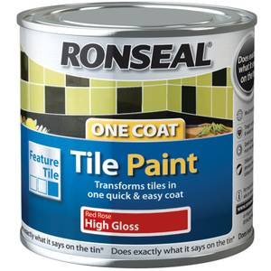 Ronseal One Coal Tile Paint Red Rose High Gloss - 250ml