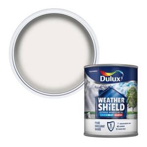 Dulux Weathershield Exterior One Coat Gloss Paint - Pure Brilliant White - 750ml