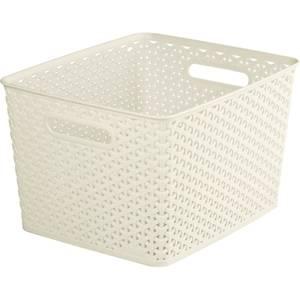 Curver My Style Large Rectangular Plastic Storage Basket - Vintage White - 18L