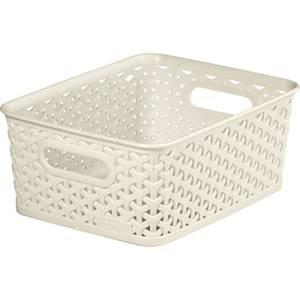 Curver My Style Medium Rectangular Plastic Storage Basket - Vintage White - 13L