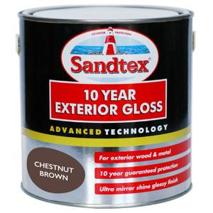 Sandtex Exterior 10 Year Gloss Paint - Chestnut Brown - 2.5L