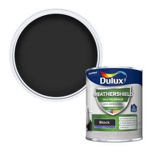 Dulux Weathershield Multi Surface Quick Dry Satin Paint - Black - 750ml