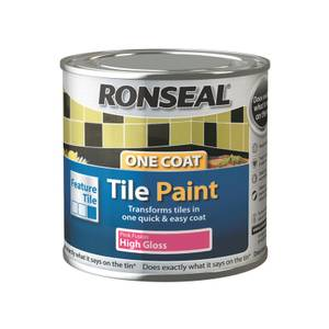 Ronseal One Coat Tile Paint Pink Fusion High Gloss 250ml