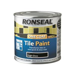 Ronseal One Coat Tile Paint Black High Gloss 250ml