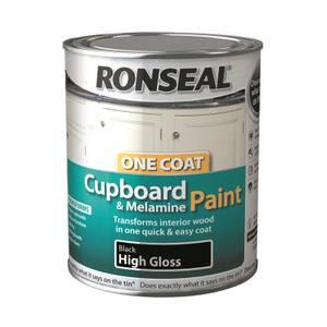 Ronseal One Coat Cupboard Melamine & MDF Paint Black High Gloss 750ml