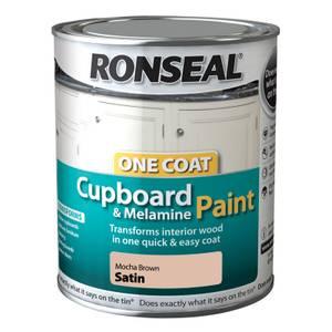 Ronseal One Coat Cupboard Melamine & MDF Paint Mocha Brown Satin 750ml