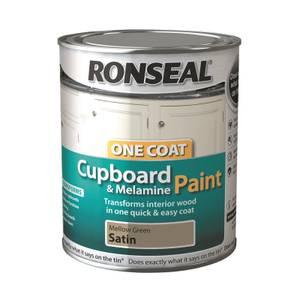 Ronseal One Coat Cupboard Melamine & MDF Paint Mellow Green Satin 750ml
